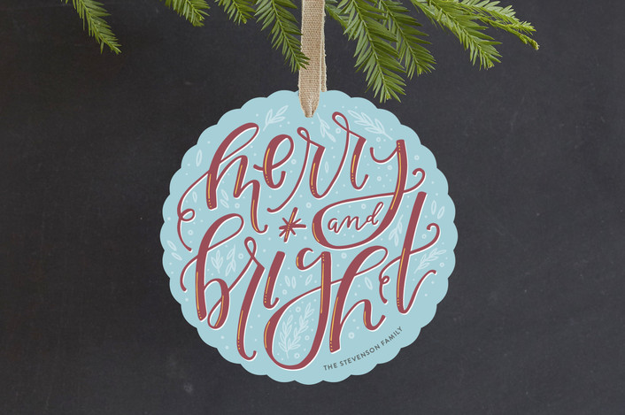 """Handlettered Merry and Bright"" - Holiday Ornament Cards in Frost by Olivia Goree."
