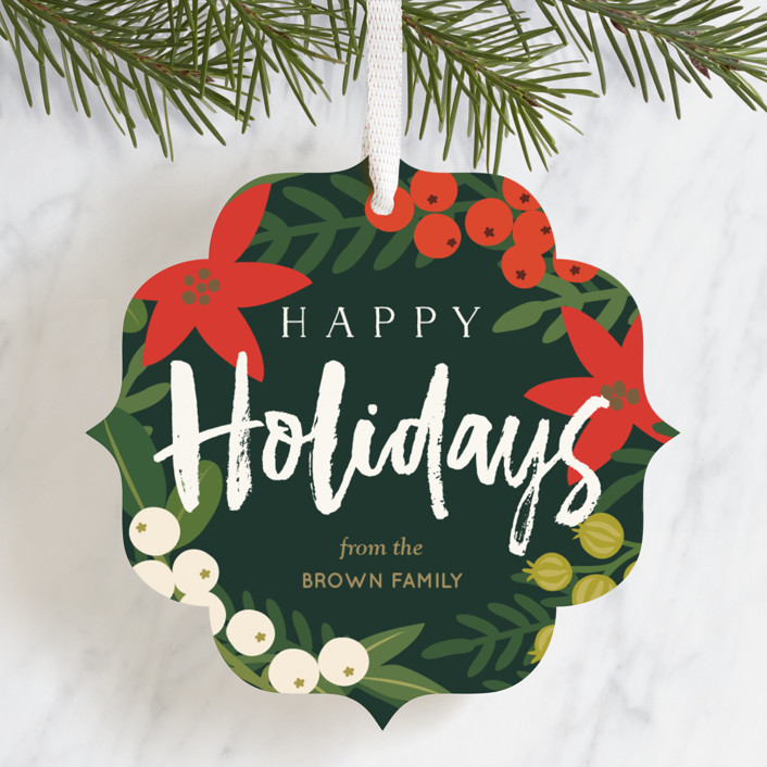 """""""Large Wreath"""" - Holiday Ornament Cards in Pine by Faiths Designs."""