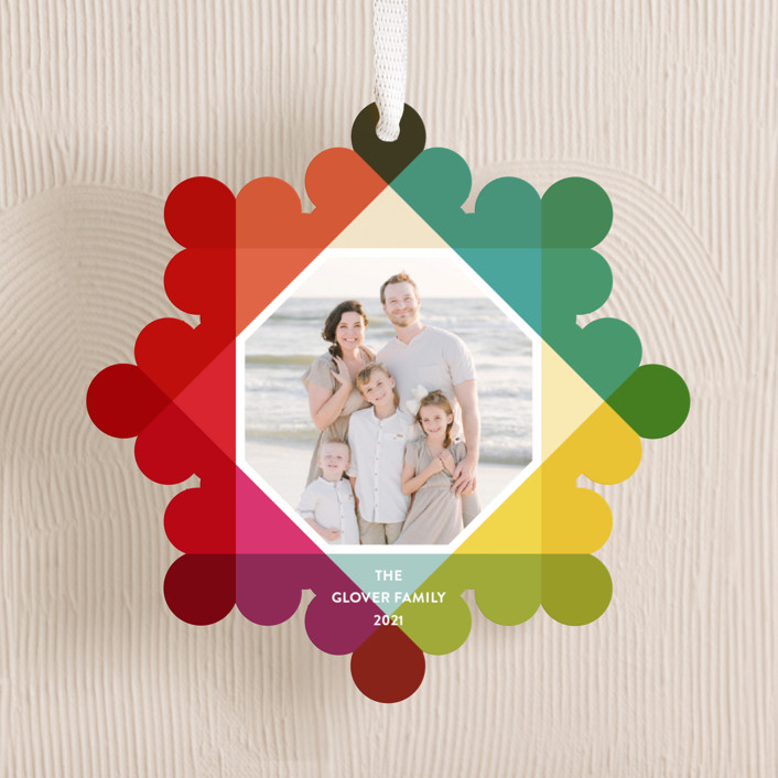 """Bright Overprint"" - Modern Holiday Ornament Cards in Gumdrop by Up Up Creative."