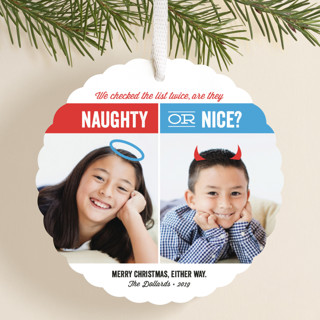 Naughty or Nice Holiday Ornament Cards