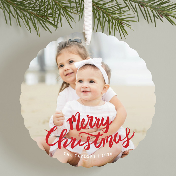 """""""Painted Merry Christmas"""" - Holiday Ornament Cards in Berry by Shiny Penny Studio."""