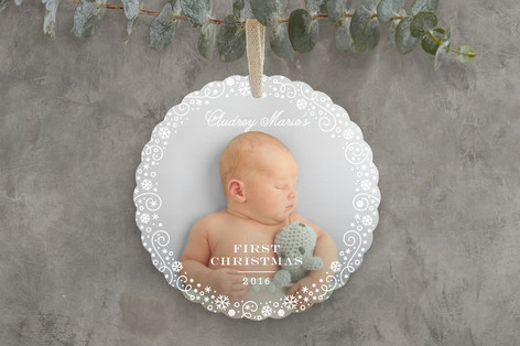 Baby's First Christmas Holiday Ornament Cards