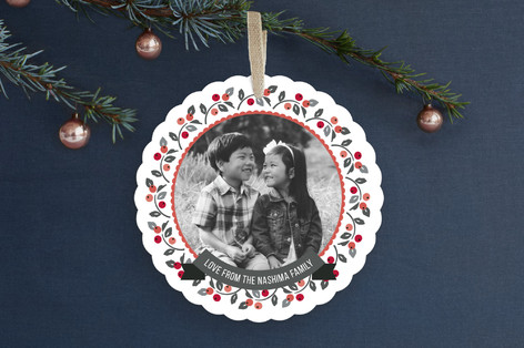 Holly in the Round Holiday Ornament Cards