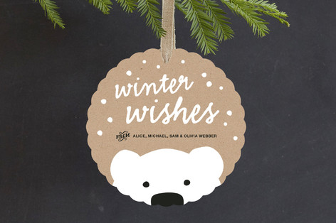 Polar Bear Wishes Holiday Ornament Cards