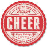 This is a red holiday card ornament by GeekInk Design called Cheer Stamp with standard printing on signature in ornament.