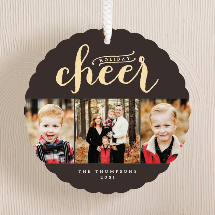 """""""Sparkling Cheer"""" - Holiday Ornament Cards in Chocolate by Alston Wise."""