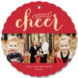 This is a red holiday card ornament by Alston Wise called Sparkling Cheer with standard printing on smooth signature in ornament.