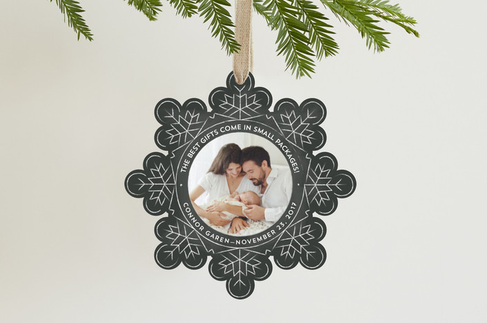 """""""Snowflake"""" - Vintage Holiday Ornament Cards in Slate by Ann Gardner."""
