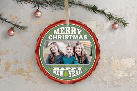 Round Octavia Holiday Ornament Cards