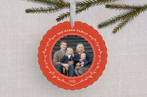 Crest Wreath Holiday Ornament Cards