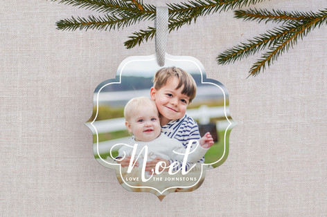 White Noel Holiday Ornament Cards