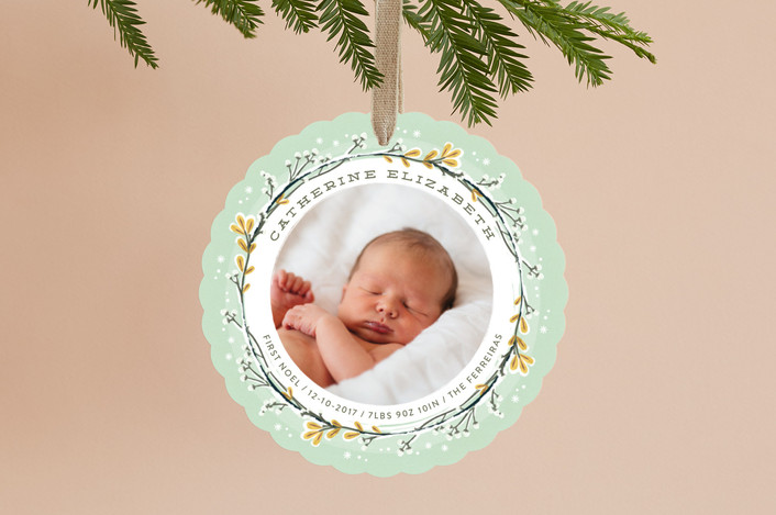 """Sweet First Noel"" - Holiday Ornament Cards in Mint by Ana de Sousa."