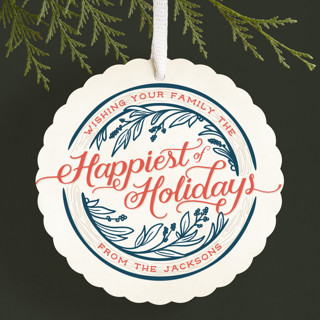 Happiest of Holidays Holiday Ornament Cards