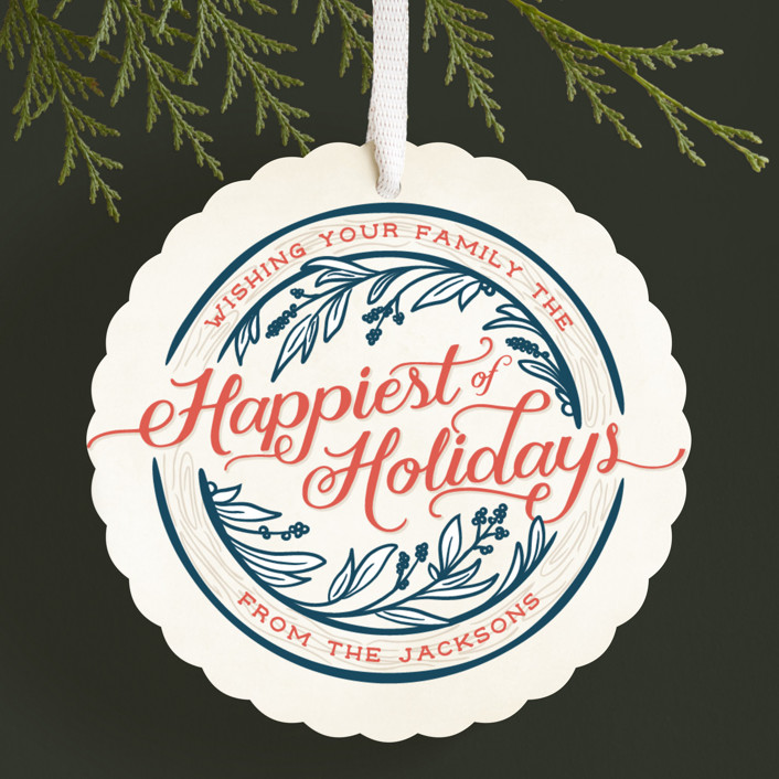 """""""Happiest of Holidays"""" - Vintage Holiday Ornament Cards in Patriotic by GeekInk Design."""