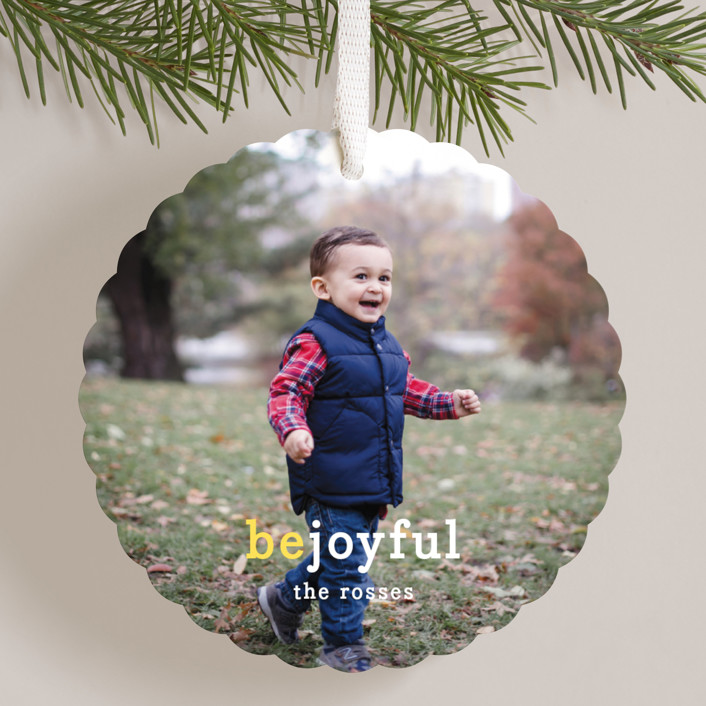 """Be Joyful"" - Holiday Ornament Cards in Lemon by Snow and Ivy."