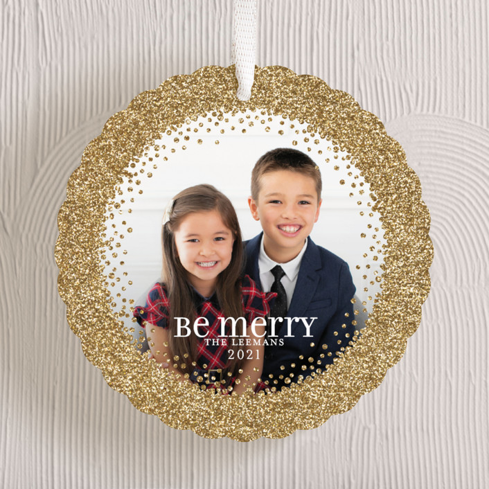 """Sparkling Be Merry"" - Holiday Ornament Cards in Golden by Jill Means."