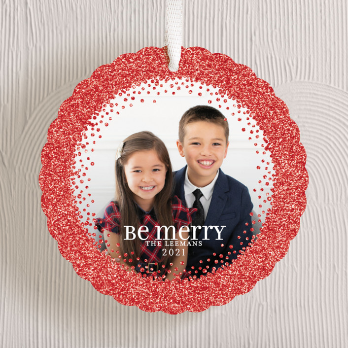 """""""Sparkling Be Merry"""" - Holiday Ornament Cards in Cherry by Jill Means."""