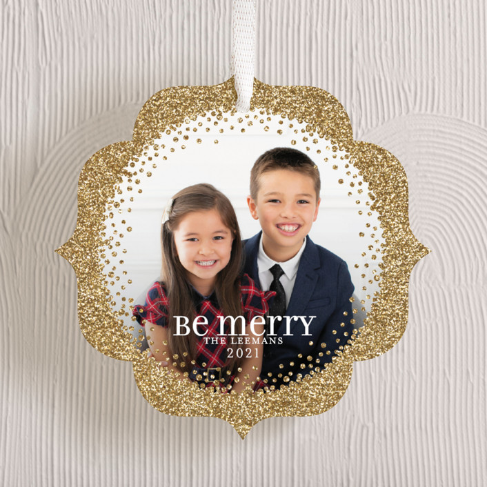 """""""Sparkling Be Merry"""" - Holiday Ornament Cards in Golden by Jill Means."""