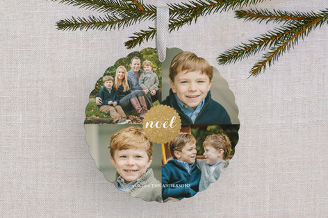 Golden Noel Holiday Ornament Cards