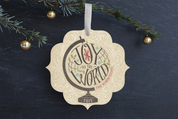 """""""Joy Across The Globe"""" - Hand Drawn Holiday Ornament Cards in Toffee by Calico Hill Creative."""