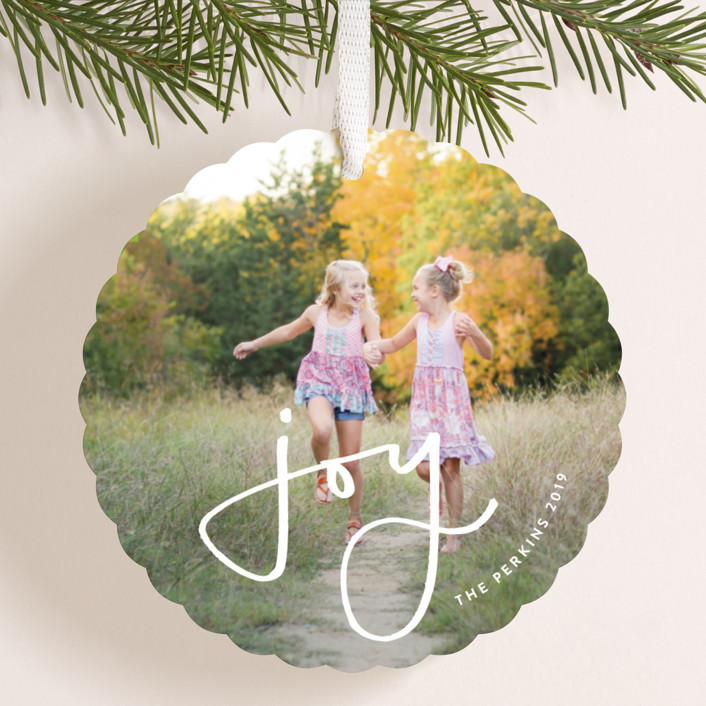 """Simple Joy"" - Holiday Ornament Cards in Cranberry by Haley Warner."