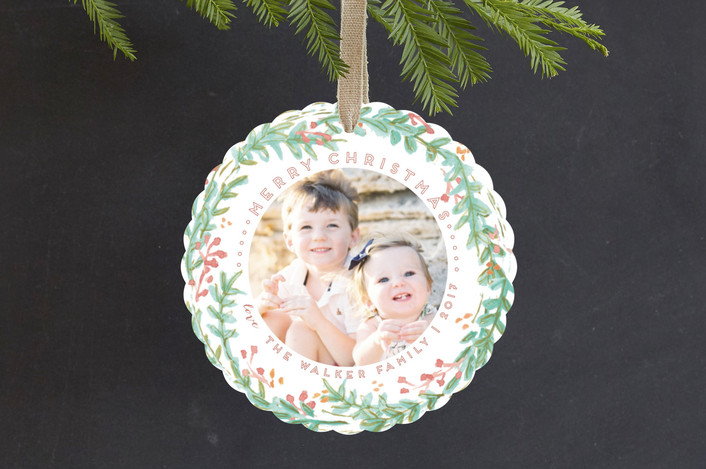 """""""Delicate Wreath"""" - Holiday Ornament Cards in Sea by Grace Kreinbrink."""
