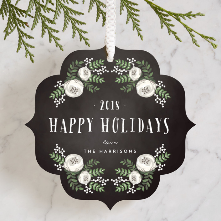 """Merry Florals"" - Holiday Ornament Cards in Chalkboard by Lehan Veenker."