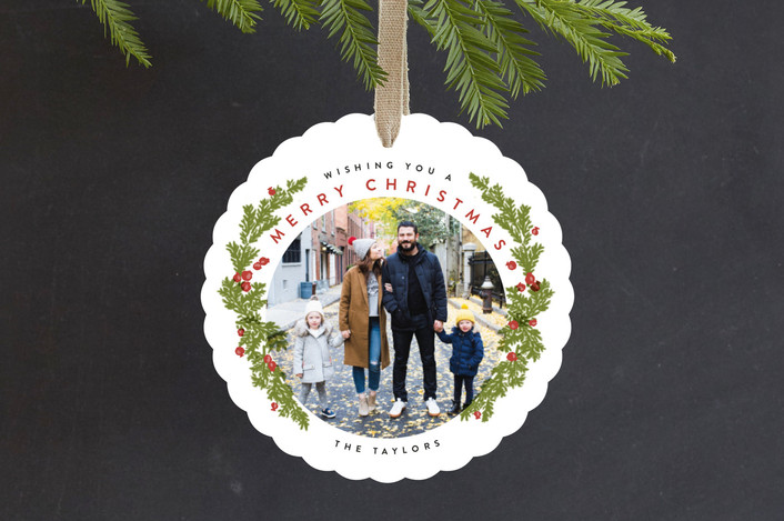 """""""Painted Wreath"""" - Modern Holiday Ornament Cards in Pine by Shiny Penny Studio."""