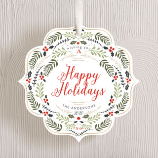 Holly & Leaves Holiday Ornament Cards