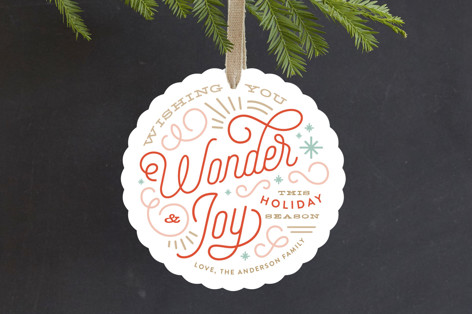Wonder and Joy Blue Holiday Ornament Cards