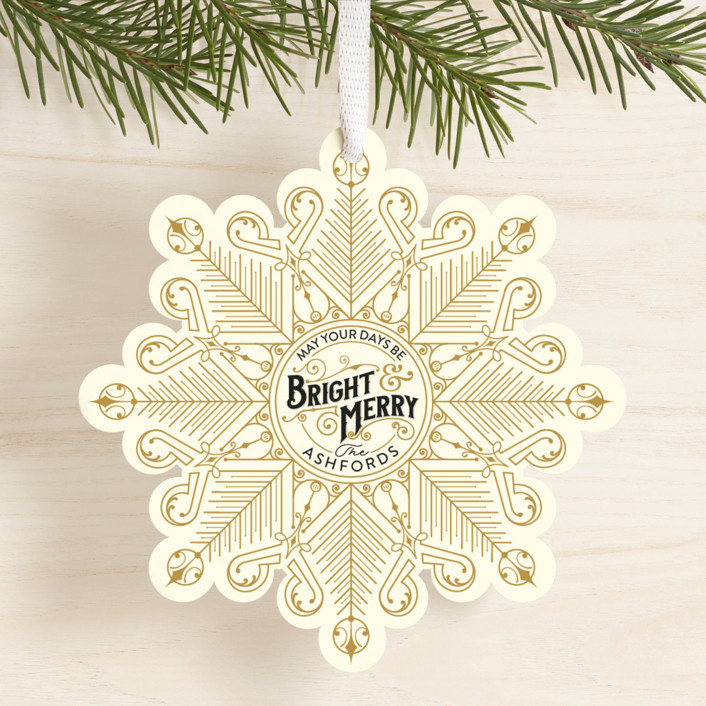 """Deco Flake"" - Vintage Holiday Ornament Cards in Golden by GeekInk Design."