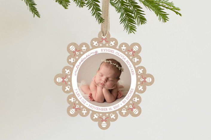 """""""The Tiniest Snowflake"""" - Holiday Ornament Cards in Rosy Cheeks by Holly Whitcomb."""