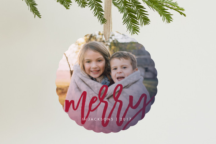 """""""Merry Script"""" - Modern Holiday Ornament Cards in Cranberry by Ashley Ottinger."""