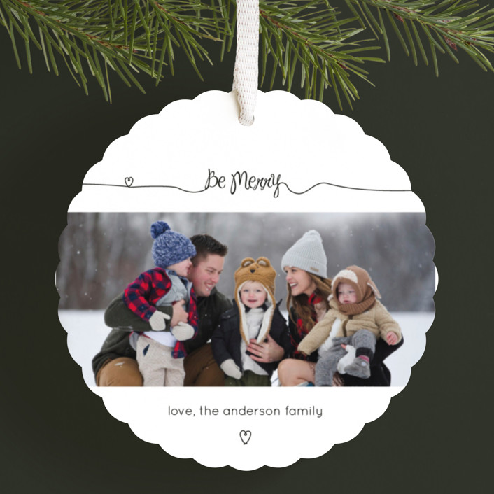 """Holiday Script"" - Holiday Ornament Cards in Jet Black by Rebecca Lowe."