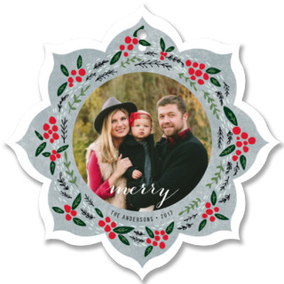 Christmas Berry Holiday Ornament Cards