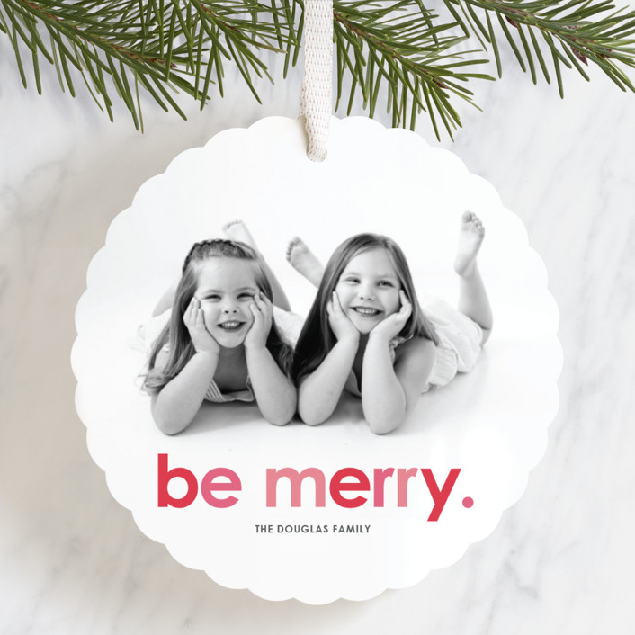 """""""Be Merry"""" - Holiday Ornament Cards in Cherry by design market."""