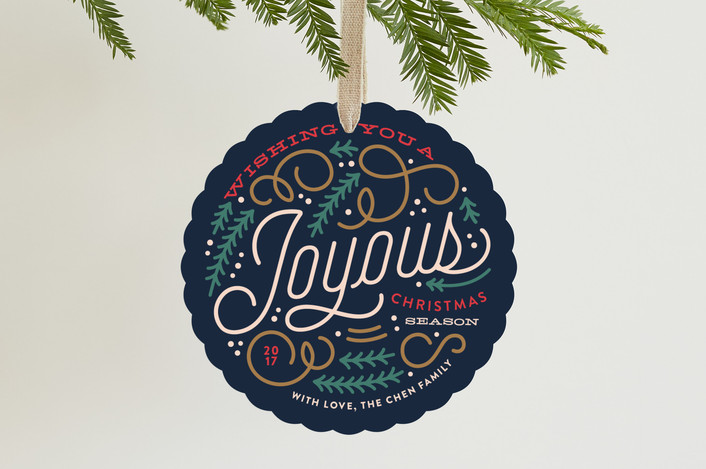 """Pines and Swirls"" - Vintage Holiday Ornament Cards in Navy by Genna Cowsert."