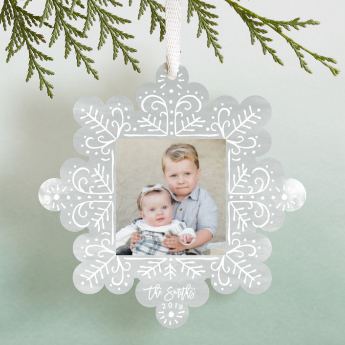 """Doodle Snowflake"" - Holiday Ornament Cards in Foggy White by Shiny Penny Studio."