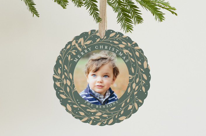 """""""Gilded Leaves"""" - Holiday Ornament Cards in Pine by Susan Moyal."""
