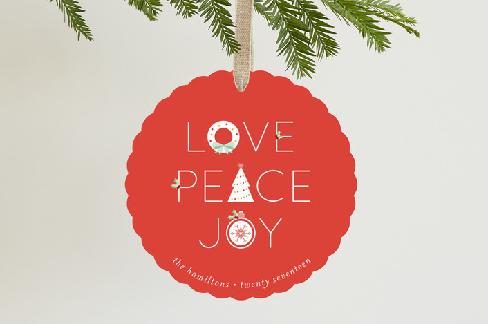 """""""Icons Peace Love Joy"""" - Holiday Ornament Cards in Cherry by curiouszhi design."""