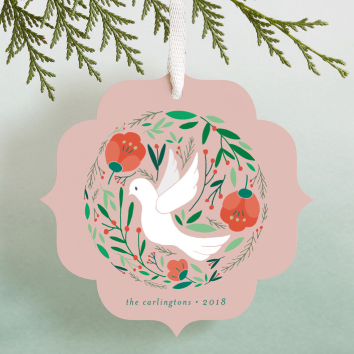 """Peace Dove Botanicals"" - Bohemian Holiday Ornament Cards in Blush by curiouszhi design."