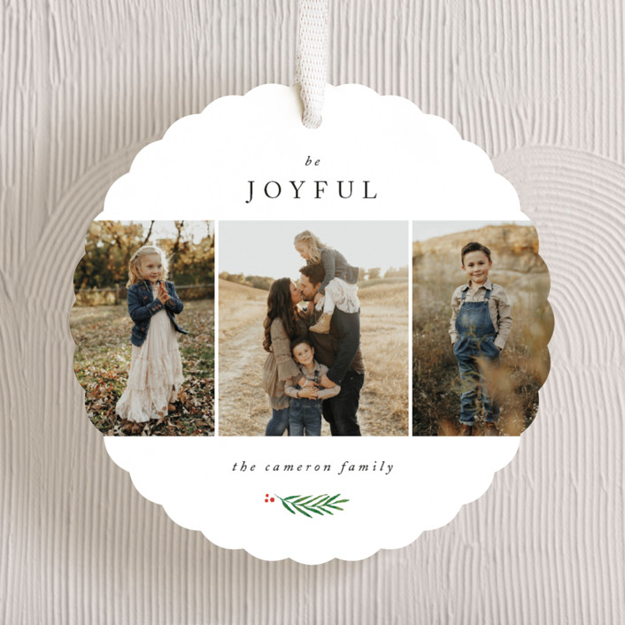 """""""Be Joyful"""" - Holiday Ornament Cards in Snowfall by Kelly Schmidt."""