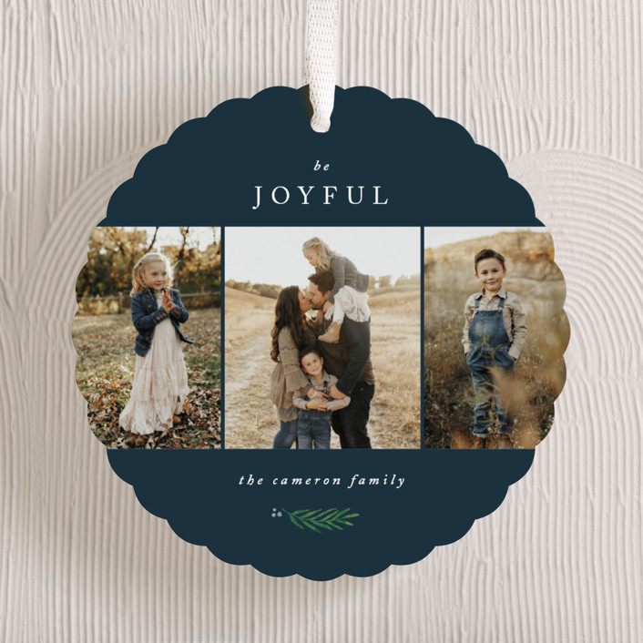"""""""Be Joyful"""" - Holiday Ornament Cards in Navy by Kelly Schmidt."""