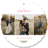 This is a red holiday card ornament by Kelly Schmidt called Be Joyful with standard printing on smooth signature in ornament.