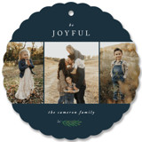 This is a blue holiday card ornament by Kelly Schmidt called Be Joyful with standard printing on smooth signature in ornament.