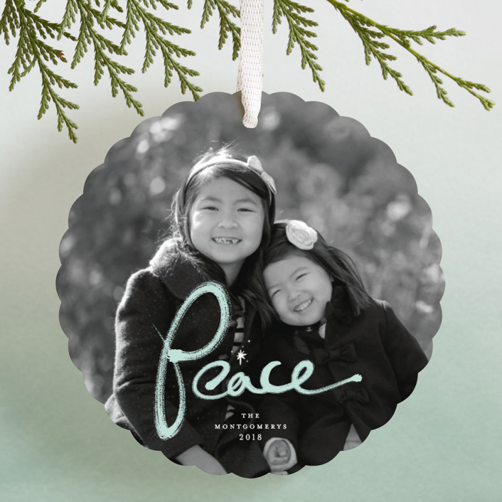 """""""Brushed Peace"""" - Holiday Ornament Cards in Snow by fatfatin."""