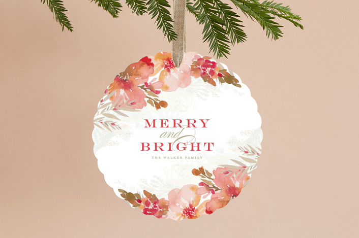 """""""Festive Blooms"""" - Holiday Ornament Cards in Berry by Grace Kreinbrink."""