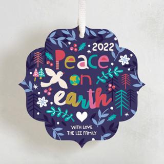 Festive Peace Holiday Ornament Cards