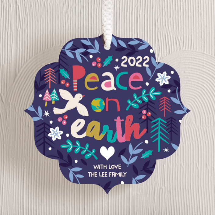 """Festive Peace"" - Modern Holiday Ornament Cards in Sugar Plum by peetie design."