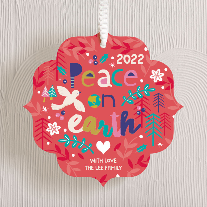 """""""Festive Peace"""" - Bohemian Holiday Ornament Cards in Holly Berry by peetie design."""